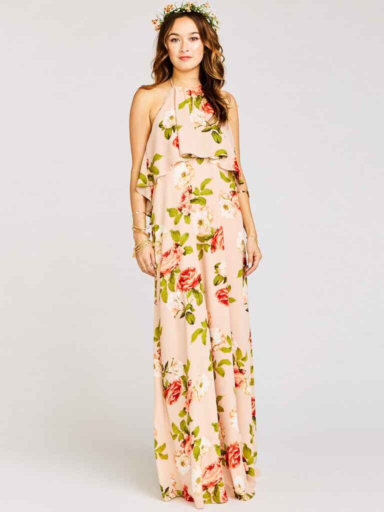 Show Me Your Mumu Aimee ruffle maxi dress in Blush Blooms