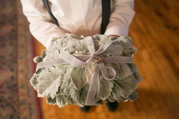 Dusty Miller Ring Pillow