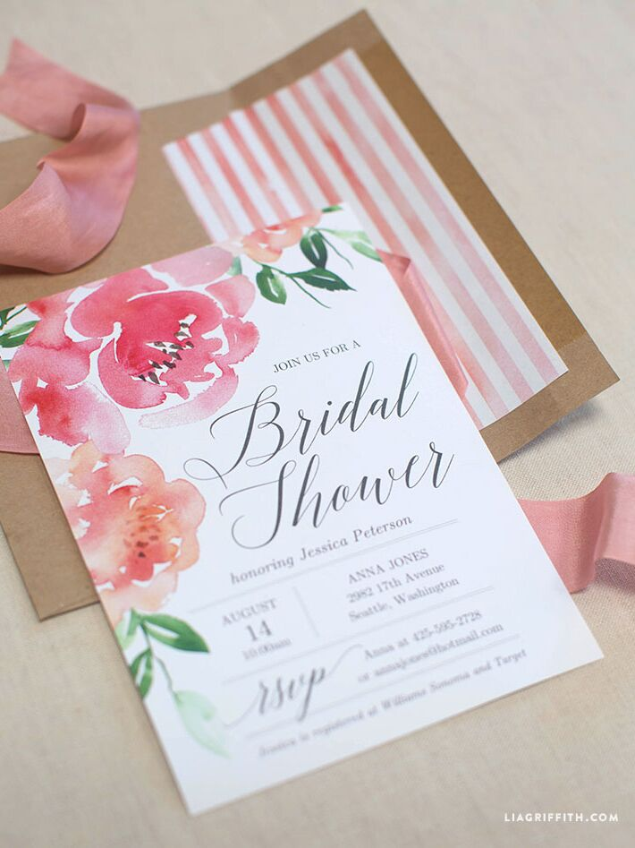 Printable bridal shower invitations you can diy printable watercolor peony bridal shower invitation diy filmwisefo
