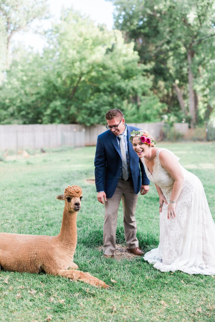 """Lyons Farmette was the perfect mix of outdoors, with farm animals, mountain views and tree coverage,"" Devin says. ""So much charm can be found on the grounds, including a greenhouse, an Airstream trailer to get ready in and alpacas."""
