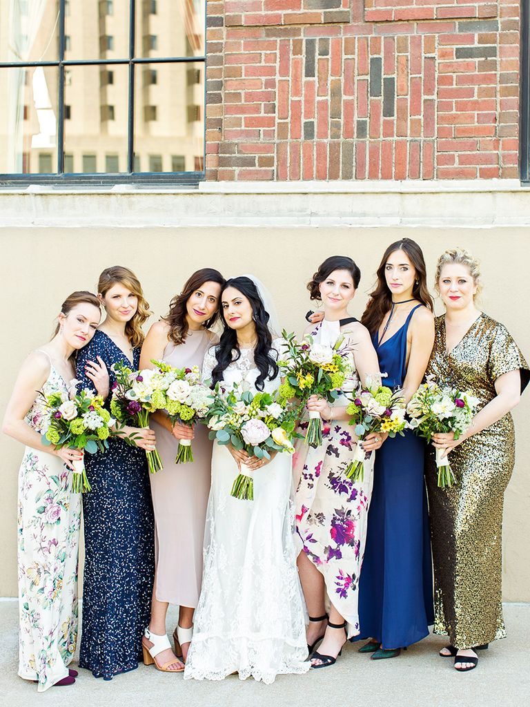 Fl Sparkly And Solid Mismatched Bridesmaid Dresses