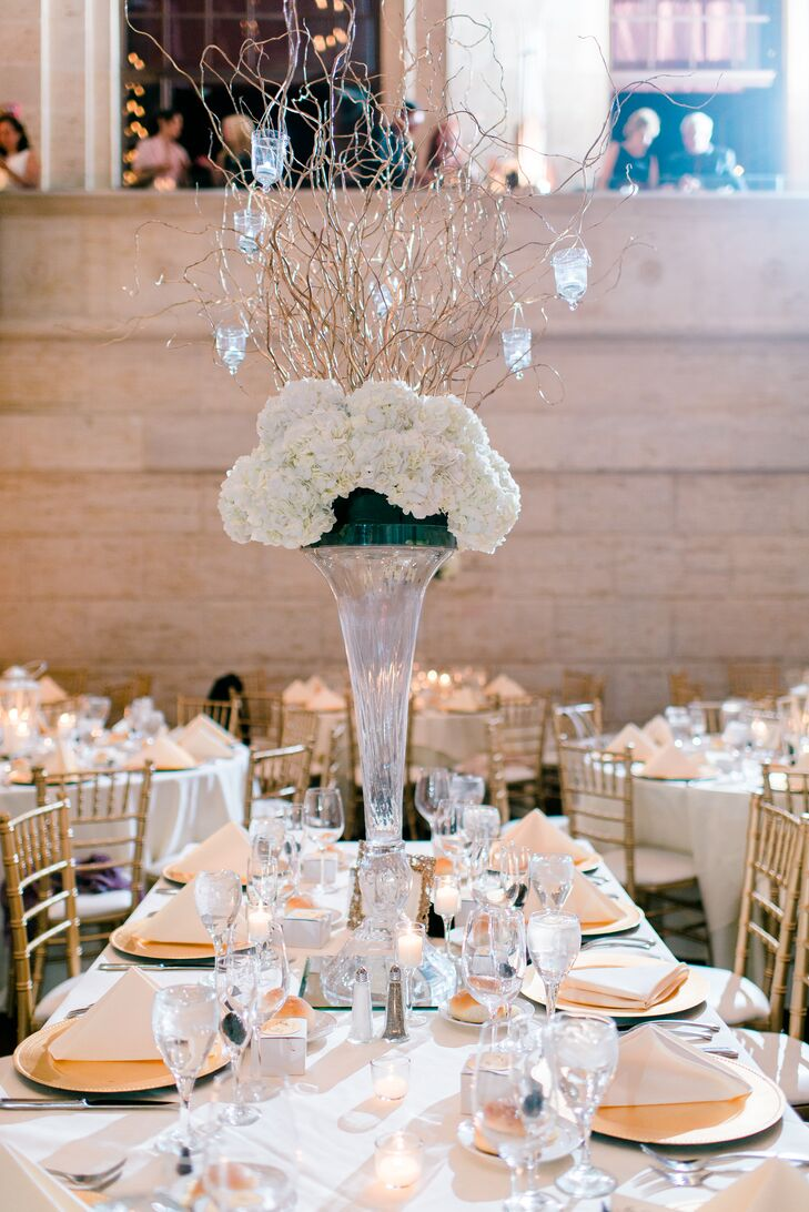 Tall hydrangea centerpiece with curly willow