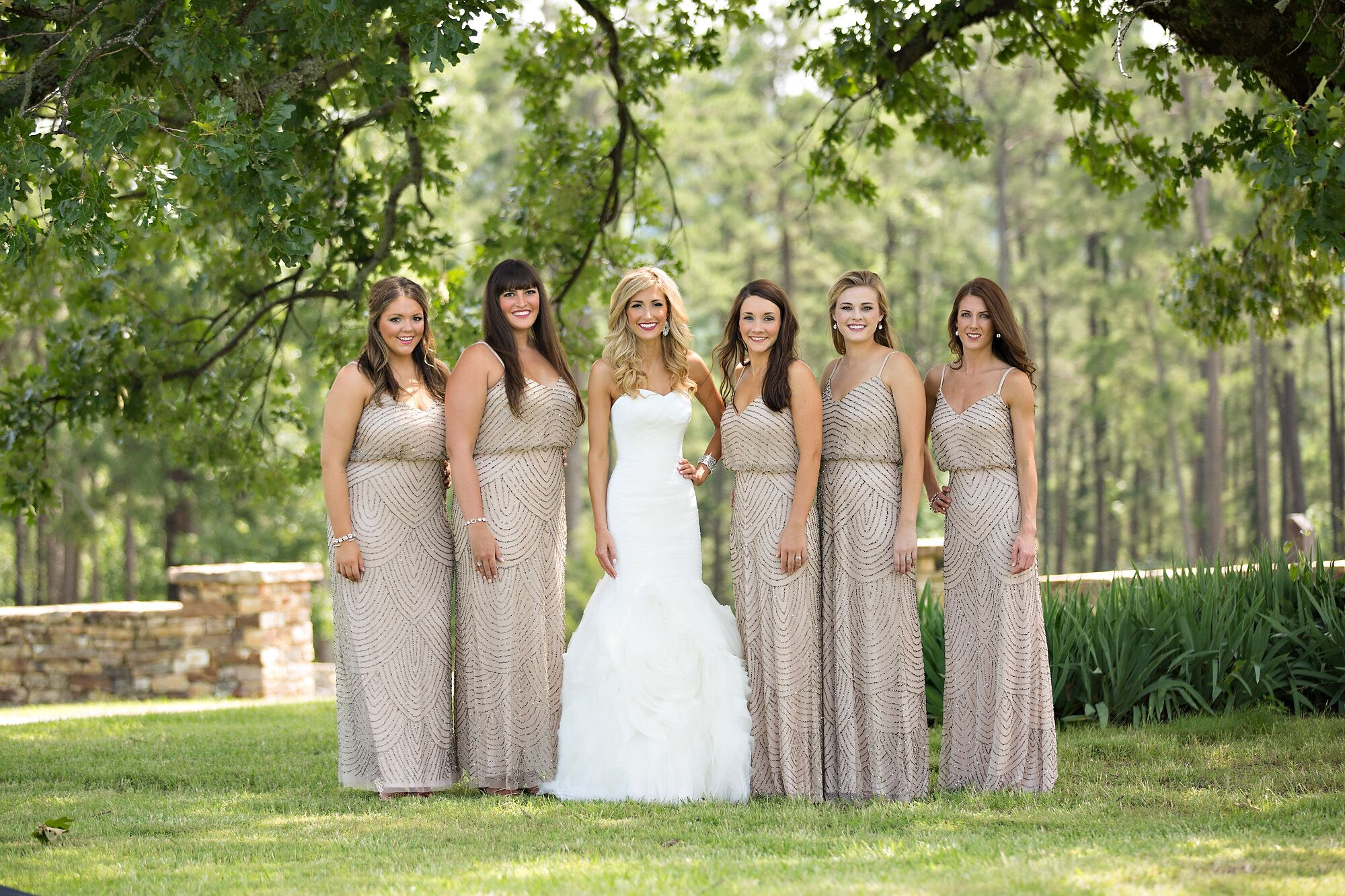 Gray white groomsmen suits modern long taupe bridesmaid dresses ombrellifo Choice Image