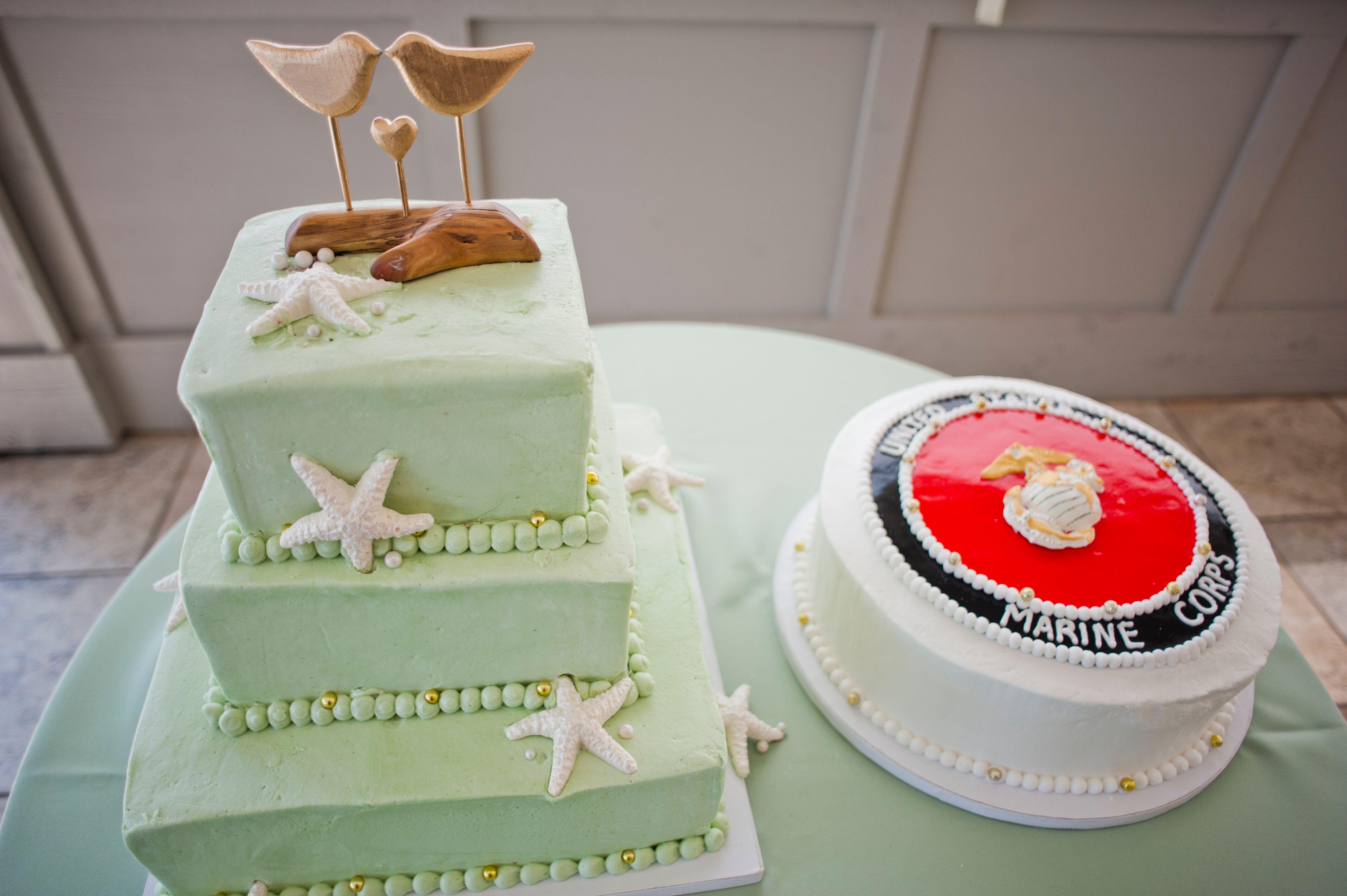 Mint Beach Inspired Wedding Cake