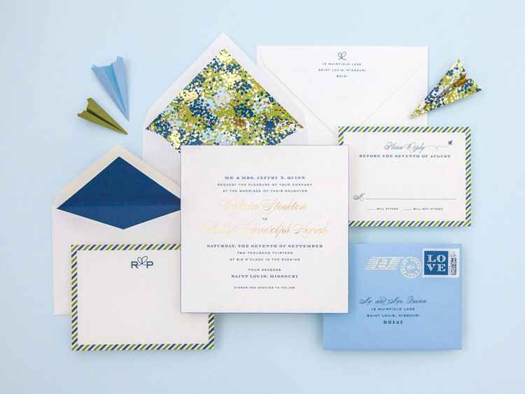 Cheree Berry Paper airmail wedding invitation design