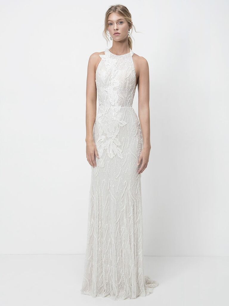 Lihi Hod Fall 2018 wedding dresses column gown with embroidery