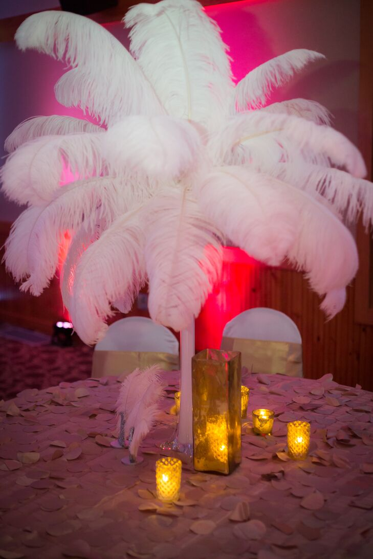 Tall White Feather and Gold Candlelight Centerpiece