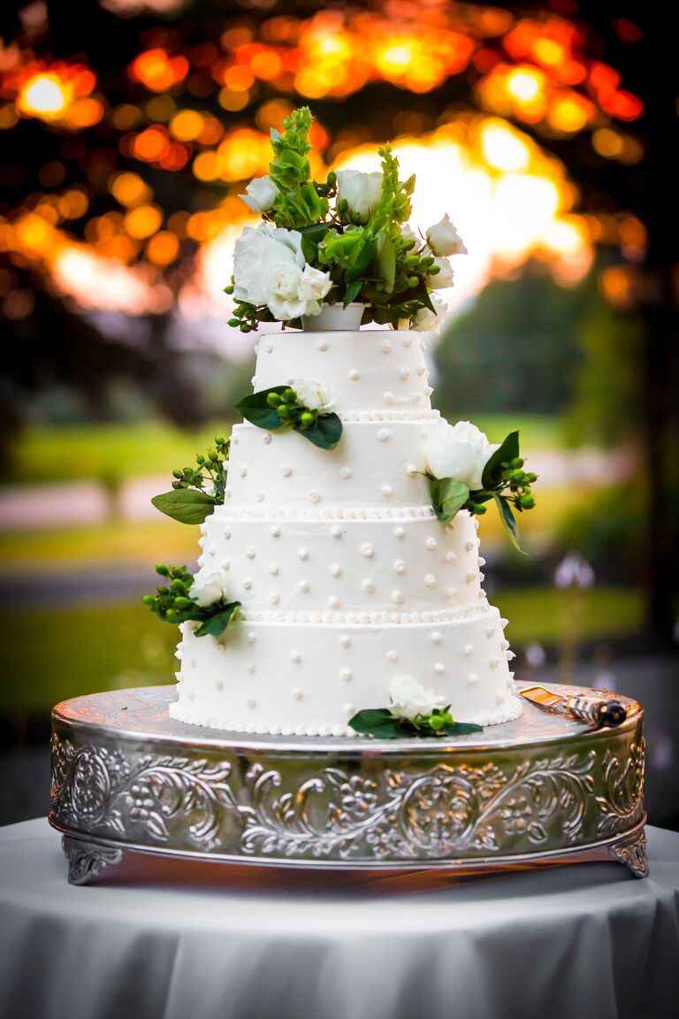 Simple Swiss Dots White Buttercream Wedding Cake