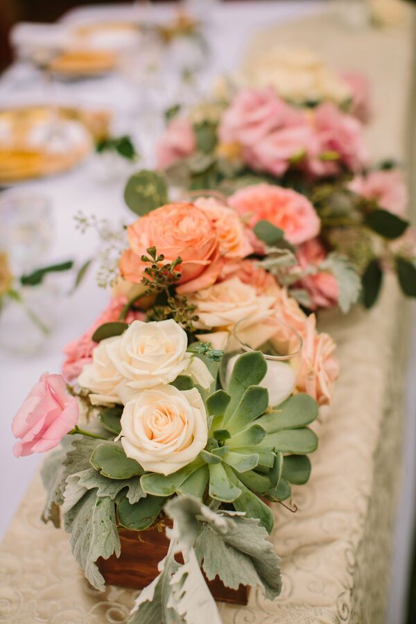 Rose and Succulent Flower Box Centerpiece