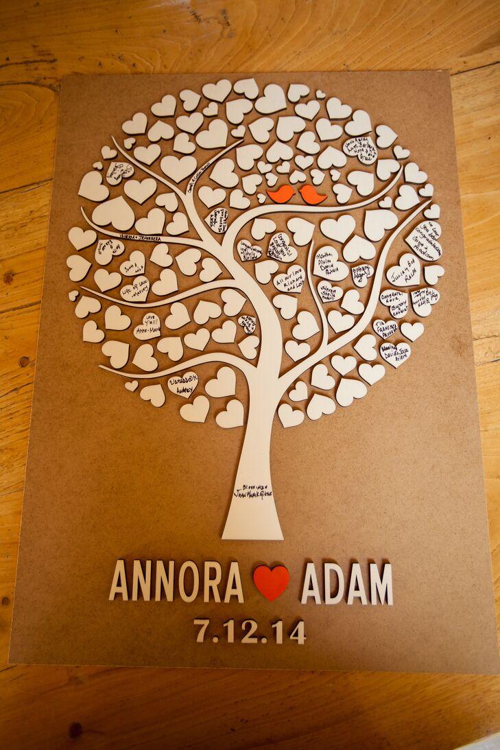 Custom Wood Heart Tree Guest Book