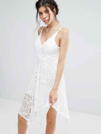 ASOS Love Triangle Lace Hanky Hem Dress