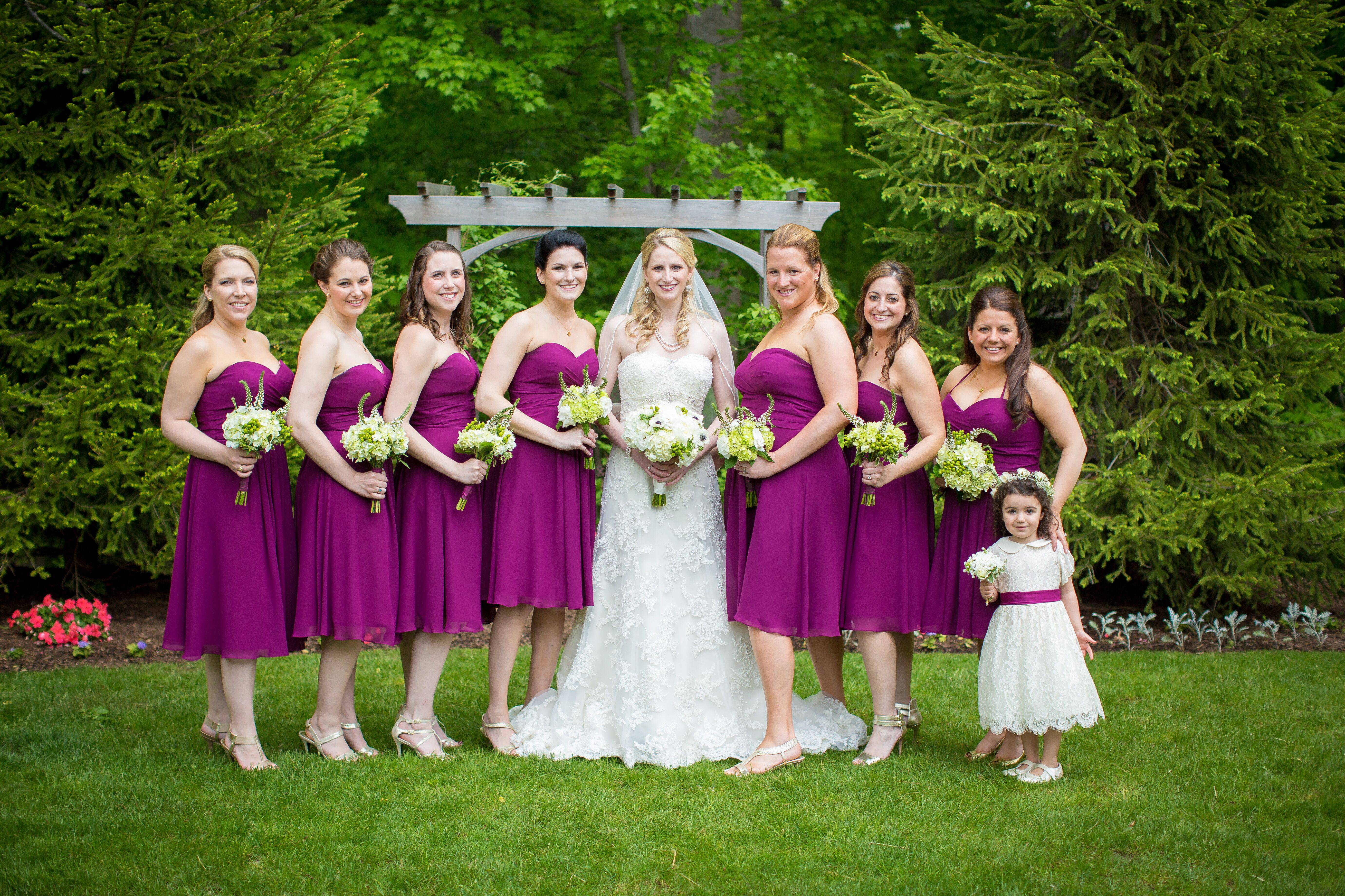 Real Weddings By Color: Sangria Bill Levkoff Bridesmaid Dresses