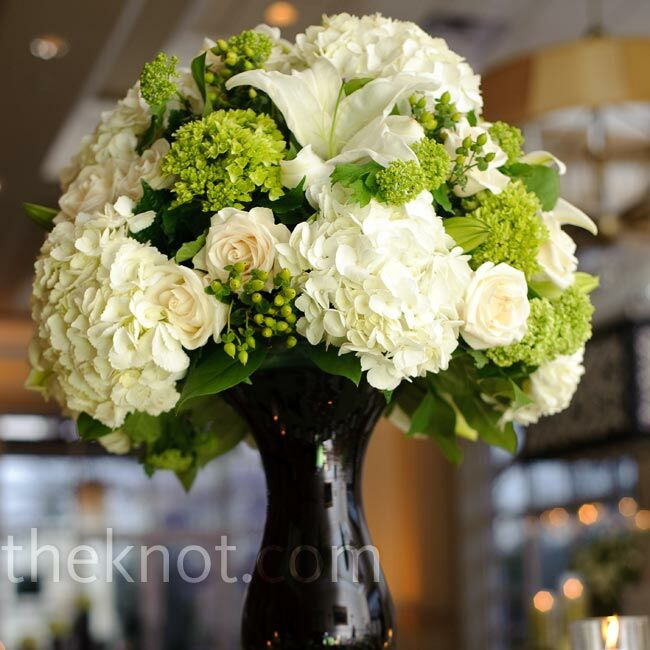 Modern white and green centerpieces