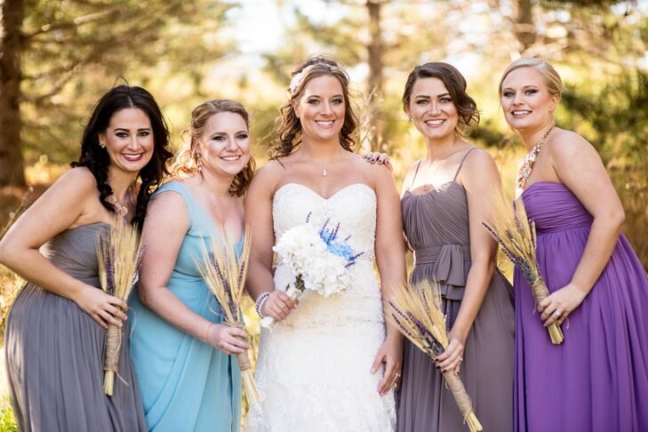 "The bridesmaids chose their own chiffon dresses. ""I really wanted them to put their own personal styles into their attire so that they were comfortable and able to show their personalities,"" says Jessica."
