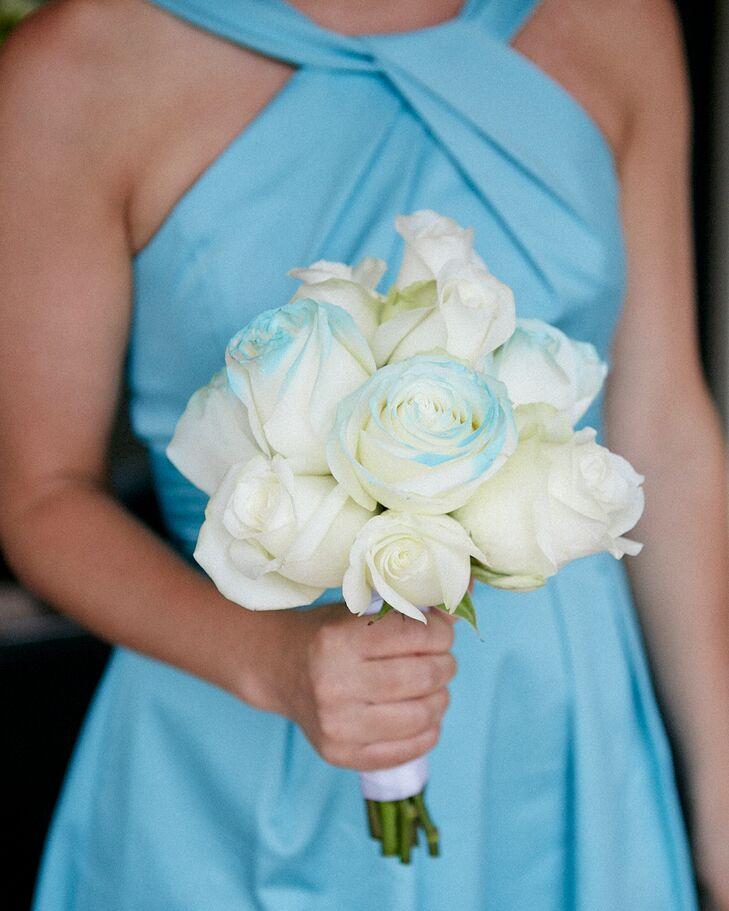 blue painted white rose bridesmaid bouquet