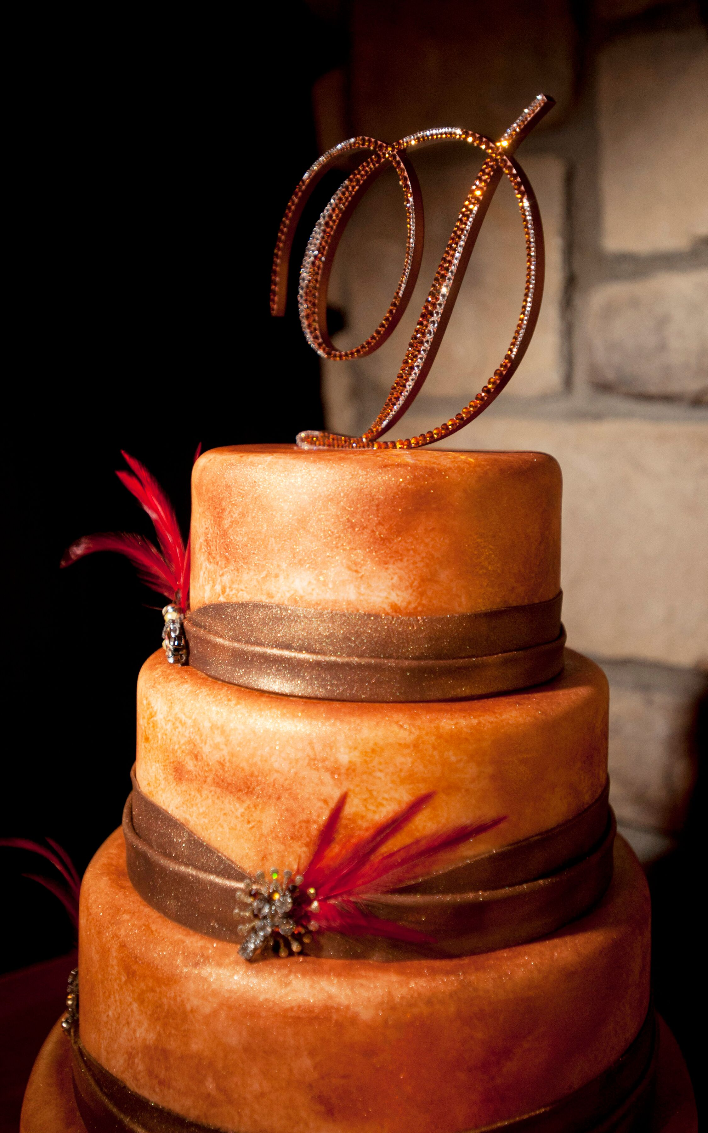 Metallic Copper Rustic Wedding Cake With Red Accents