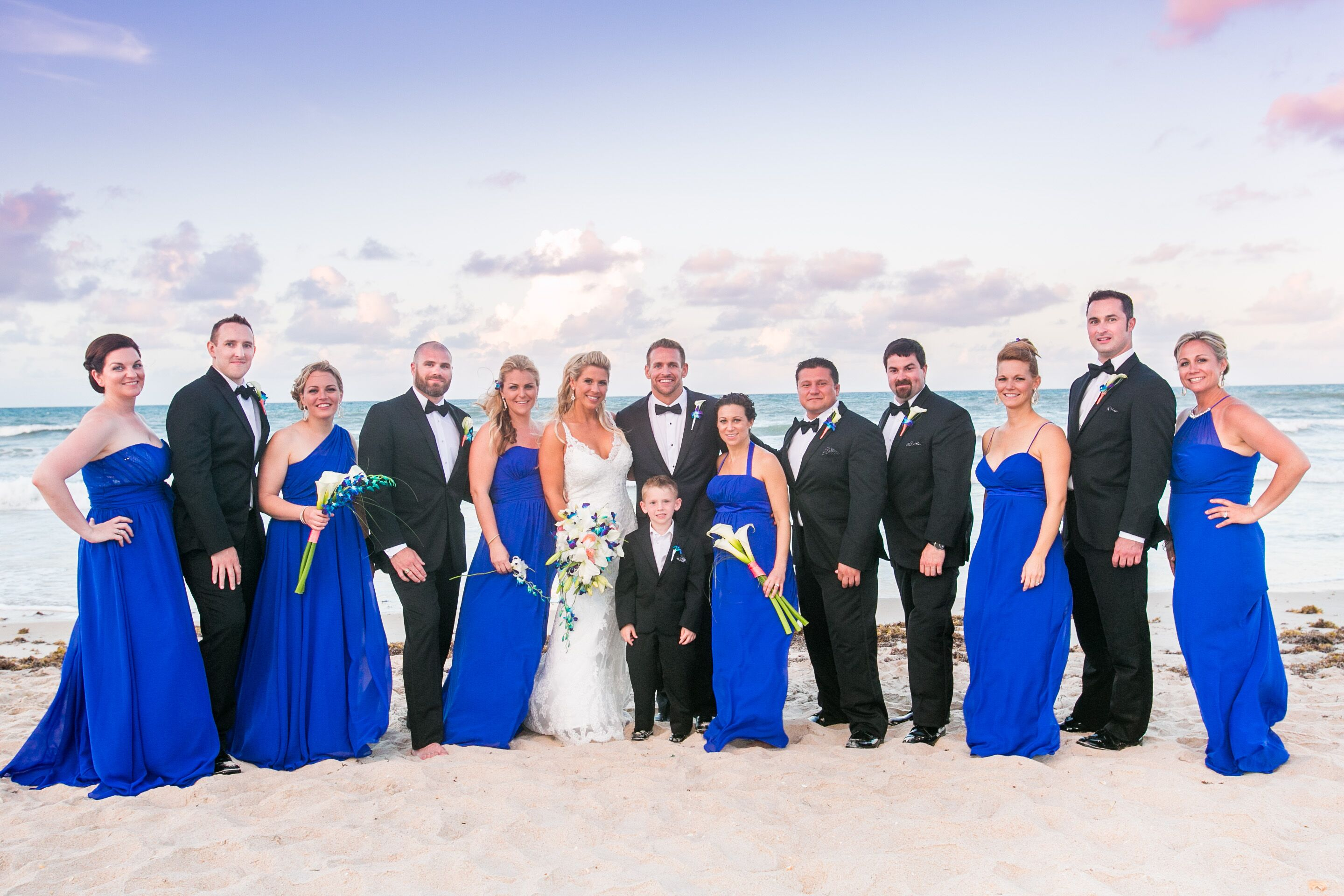Royal Blue And Black Beach Wedding Party