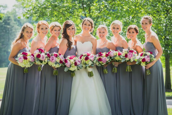 Strapless Gray Bridesmaid Dresses