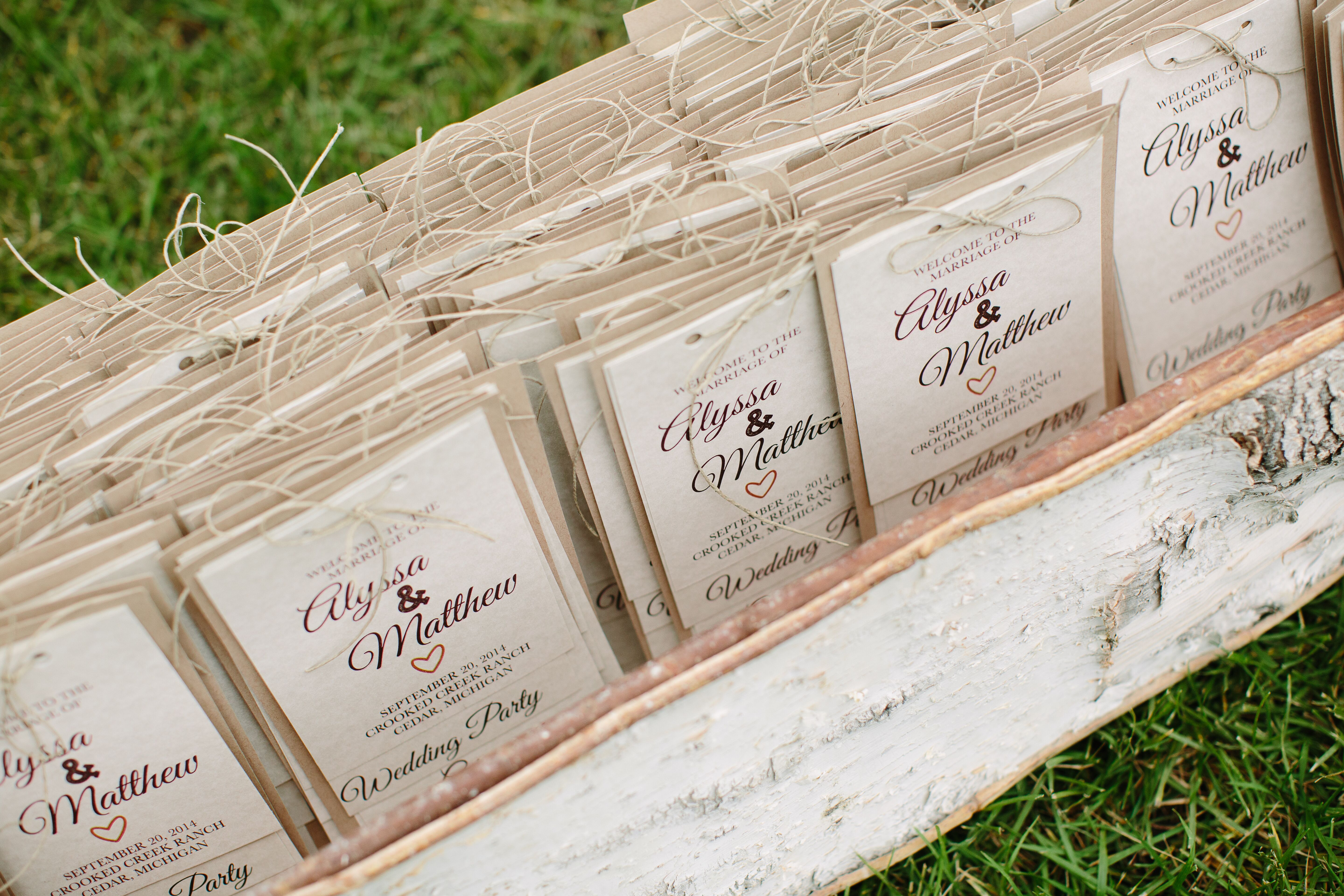 DIY Rustic Wedding Programs with Twine