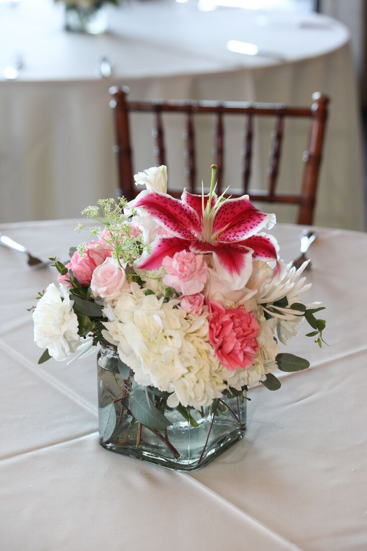 Romantic pink and white flower centerpiece