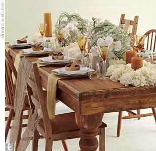 neutral wedding reception table with