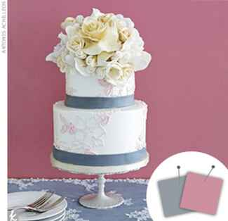 flowery cake withe pink details and slate gray ribbon lining