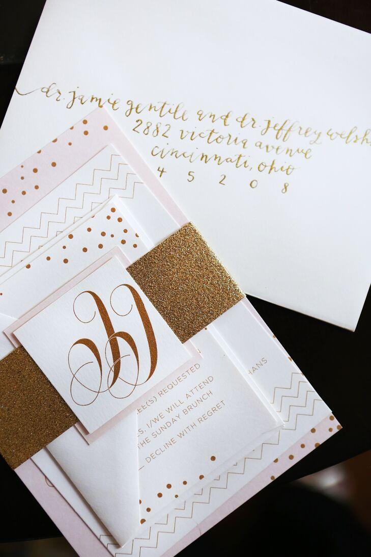 White, Gold and Blush Wedding Invitations