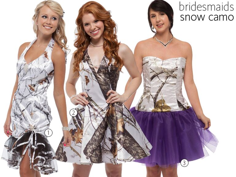 3 Snow Camo Bridesmaid Dresses