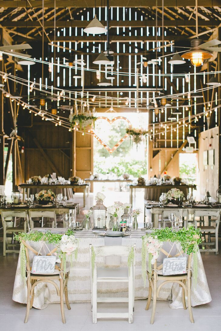 "During the reception, Victoria and Robert took their seats at the sweetheart table. Their antique wooden chairs had ""Mr."" and ""Mrs."" white and gray signs that hung from the back, with green garlands draped on top for a rustic, charming vibe."