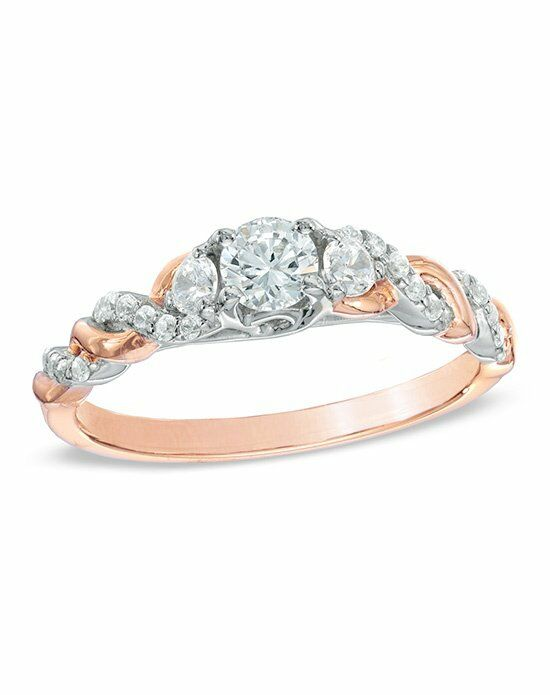 Zales 1/2 CT. T.W. Diamond Past Present Future® Twist Engagement Ring in 14K Rose Gold  19945918 Engagement Ring photo