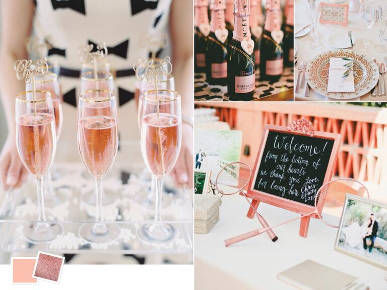 Bright summer wedding color palette with rose and rose gold