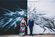 White spray paint, a bold wedding dress and a little imagination were all Steph Goralnick (35 and a photographer and graphic designer) and Dylan McCul