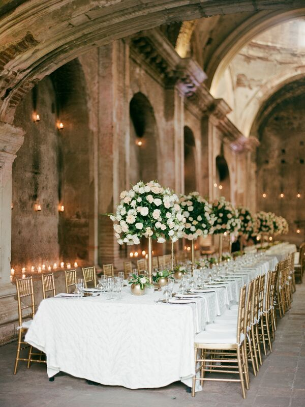 Long, Romantic Tables with Tall Rose Centerpieces