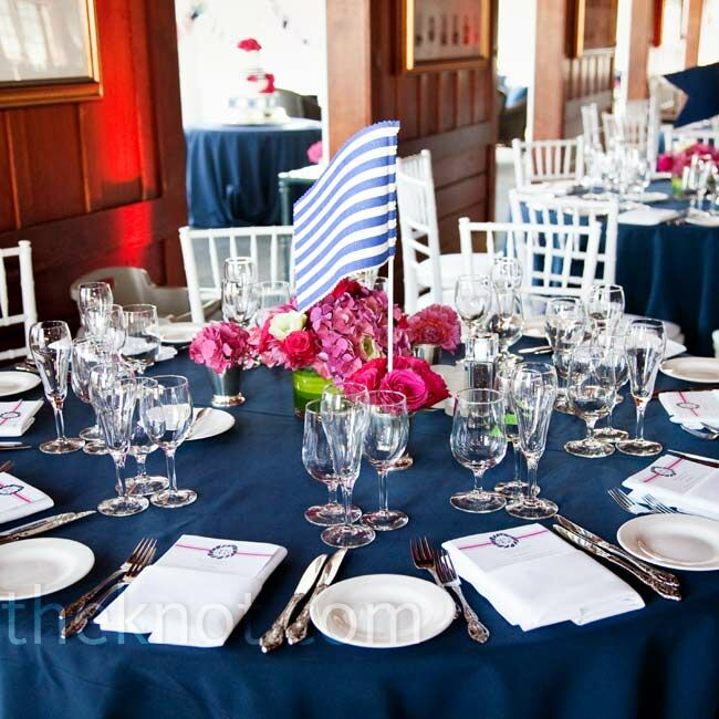 Navy Blue Reception Decor - Restaurant table markers