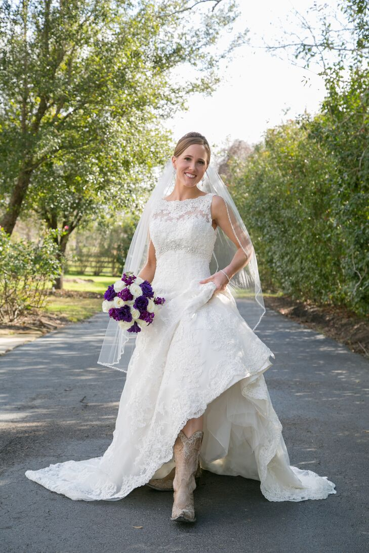 David Tutera A Line Wedding Dress With Cowboy Boots