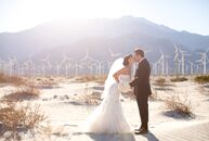 Although this romantic ballroom wedding took place in the middle of winter, the desert climate in Palm Springs, California, ensured no snow would be i