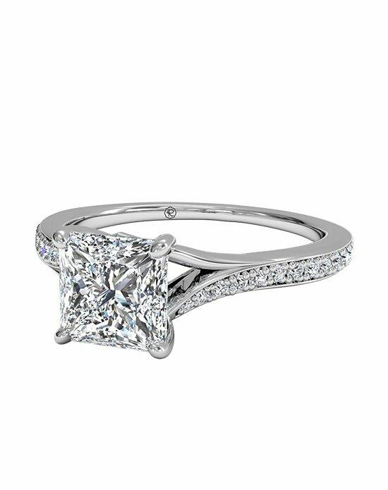 Ritani Princess Cut Engagement Ring with Modern Bypass Micropavé Diamond Band in Platinum (0.19 CTW) Engagement Ring photo