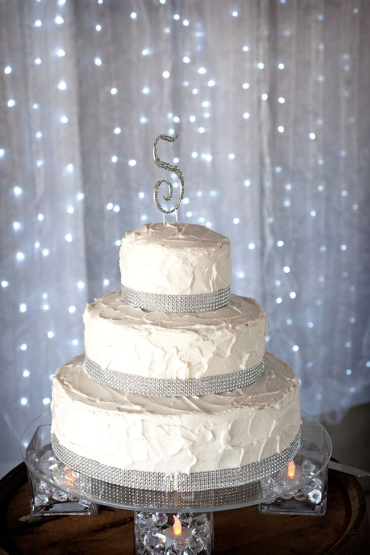 Shabby-Chic Buttercream and Crystal Wedding Cake