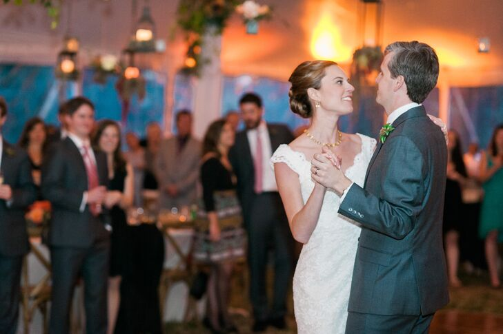 "Christine and John swayed to ""You Are the Best Thing"" by Ray LaMontagne for their first dance at the tented reception. ""We have loved this song for a long time, and we both believe the title is just so true,"" Christine says."