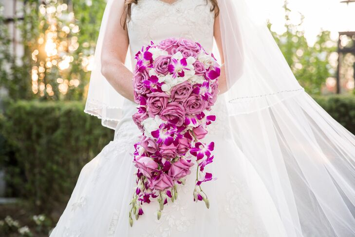 Purple Orchid and Rose Bridal Bouquet