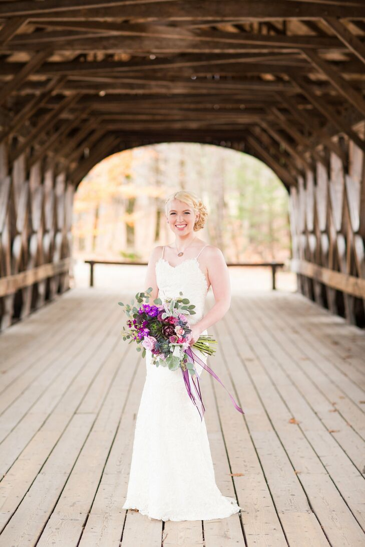 Katie's wore a custom made full lace sheath gown.