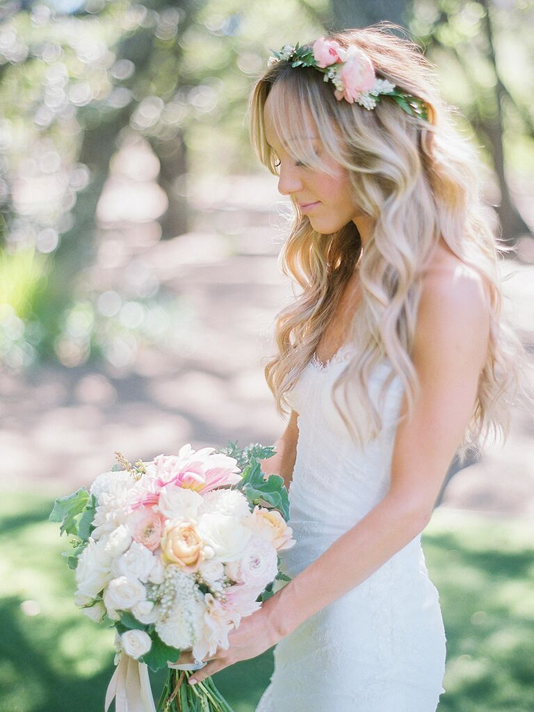17 wedding hairstyles for long hair with flowers long wavy wedding hairstyle with flowers ombrellifo Gallery