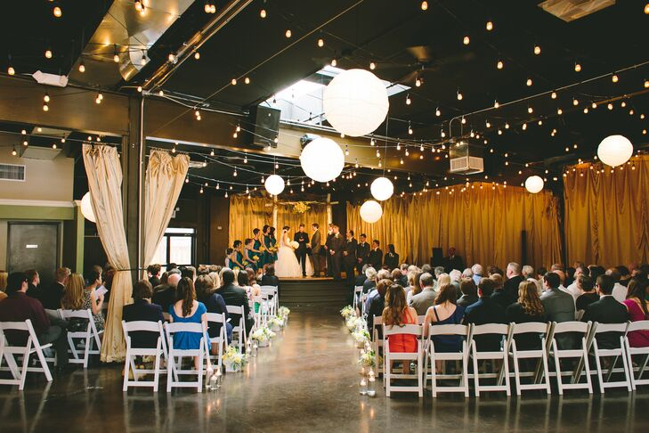 """We picked the venue because both Blake and I fell in love with 28 Event Space the minute we stepped in the room,"" Sayo says. ""Since we were not planning on having the ceremony in a church, it was important to have a space where we could do both the wedding and reception."""