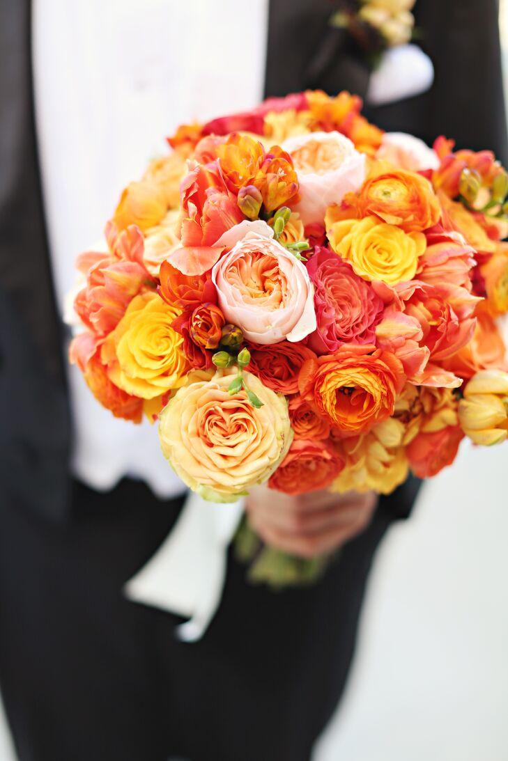 Vibrant Orange Garden Rose And Dahlia Wedding Bouquet