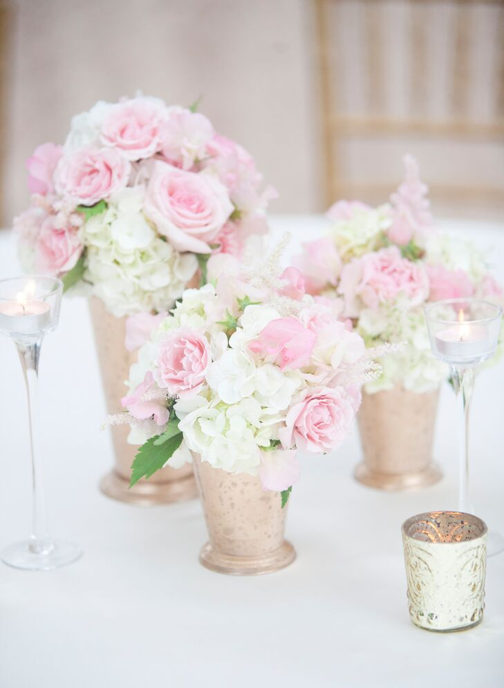 Pink rose and white hydrangea centerpieces