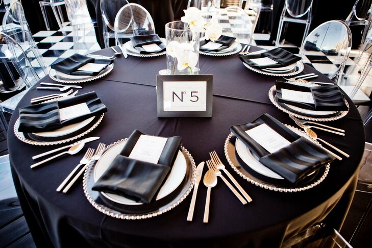 Black, White and Silver Wedding Reception Decor