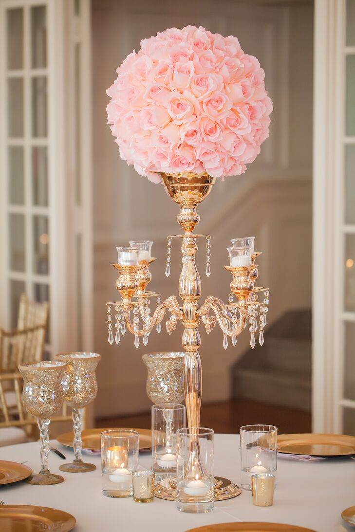 Gold candelabra pink rose wedding reception centerpiece for Decoration or rose