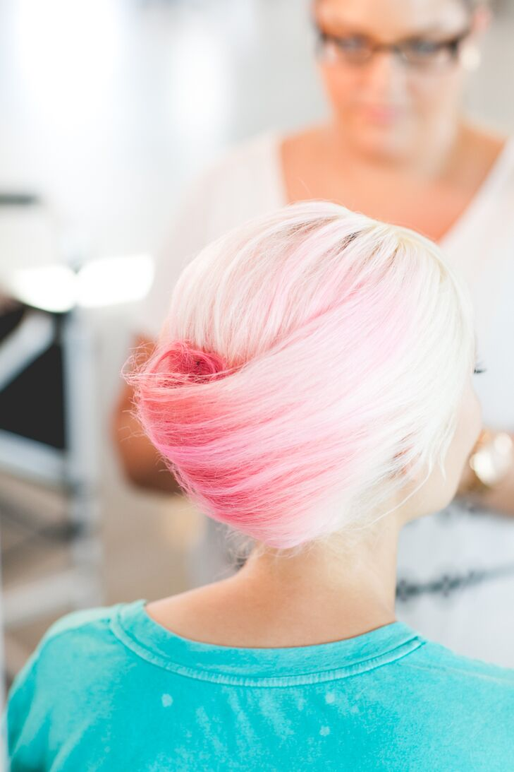 Pink Updo Hairstyle on Bride