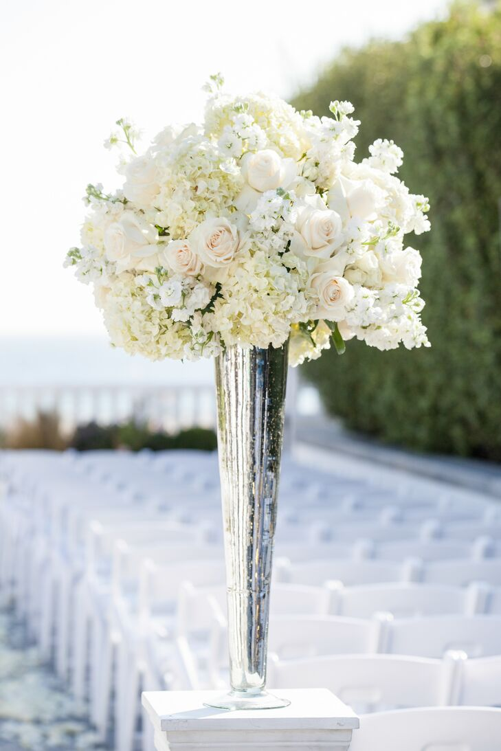 Tall White Rose And Hydrangea Centerpiece