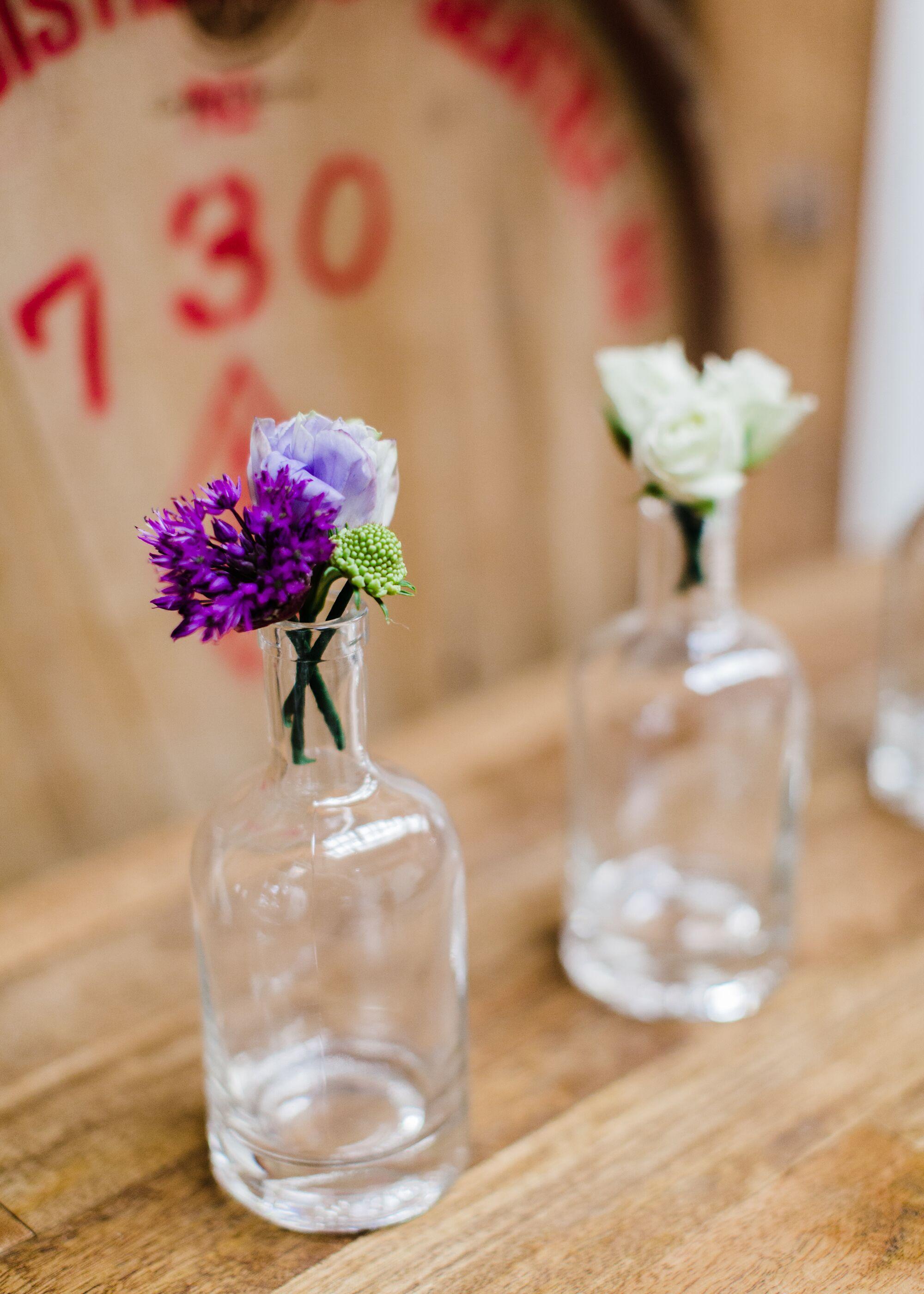 Purple ombré bud vase centerpieces